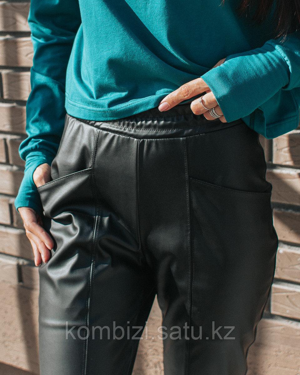 Штаны из экокожи FOR MOM, черные - фото 4