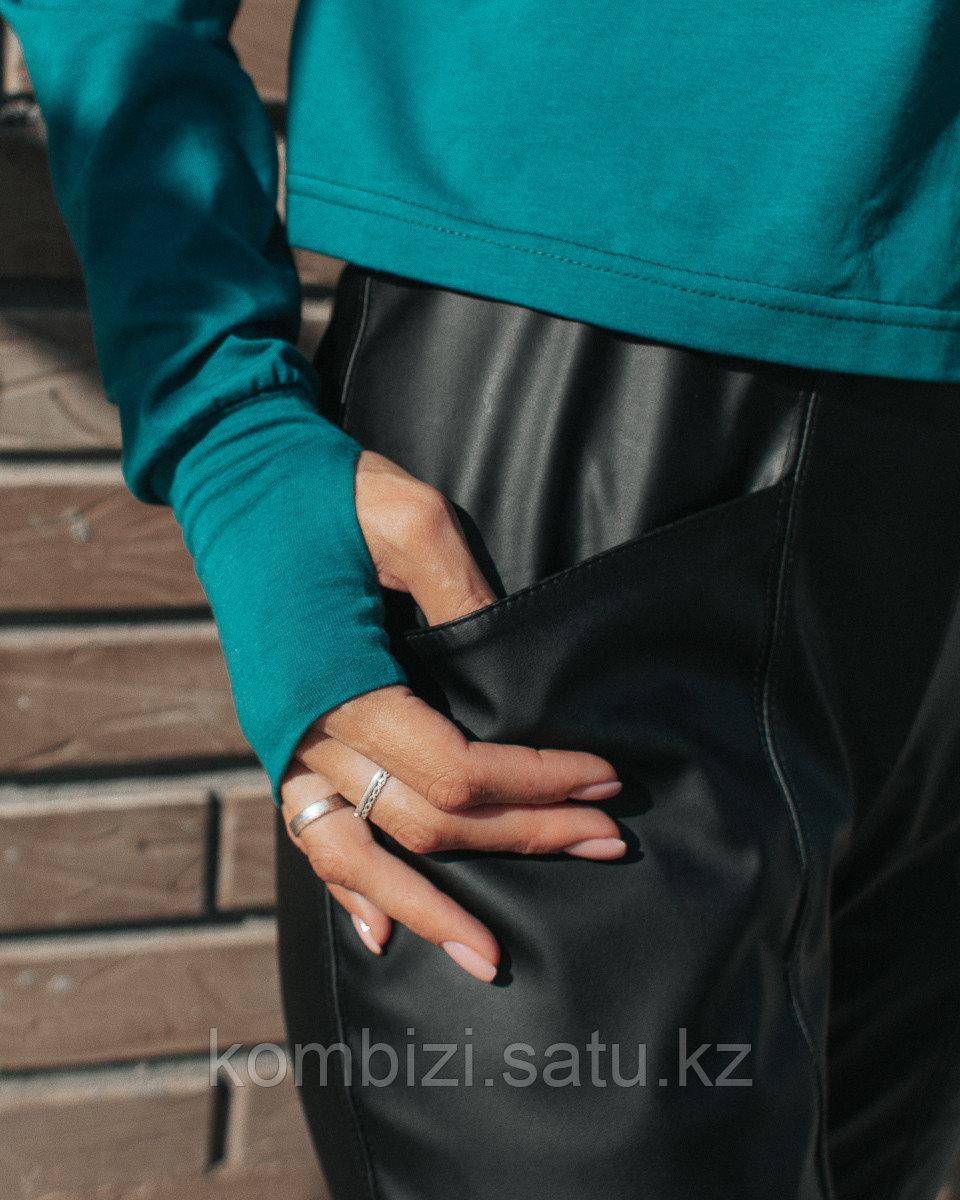 Штаны из экокожи FOR MOM, черные - фото 5