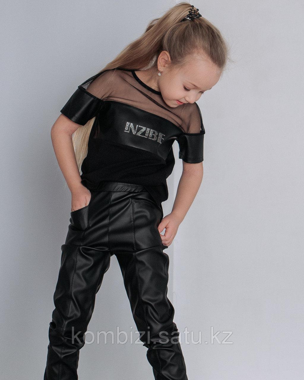 Штаны из экокожи FOR KIDS, черные - фото 2
