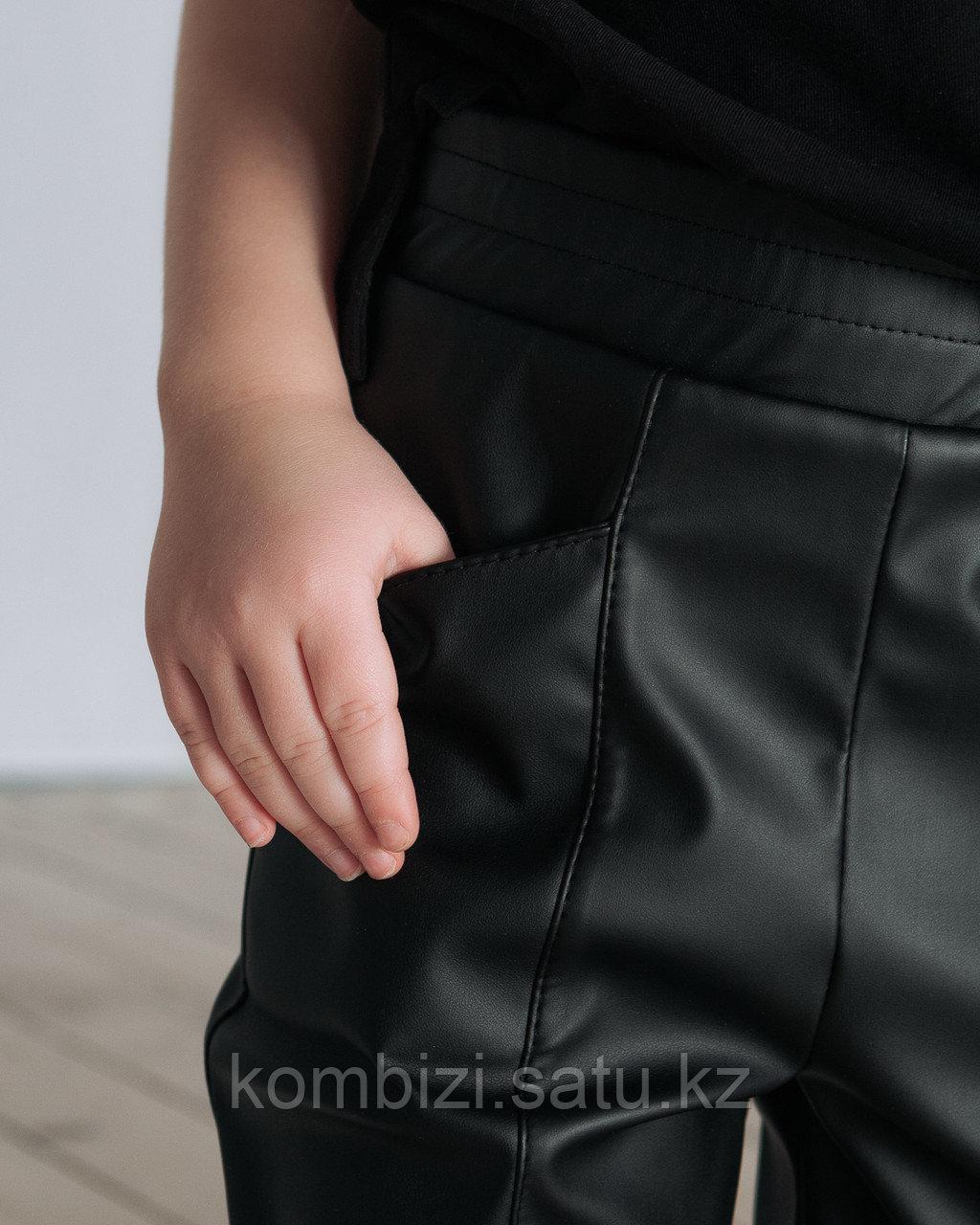 Штаны из экокожи FOR KIDS, черные - фото 3