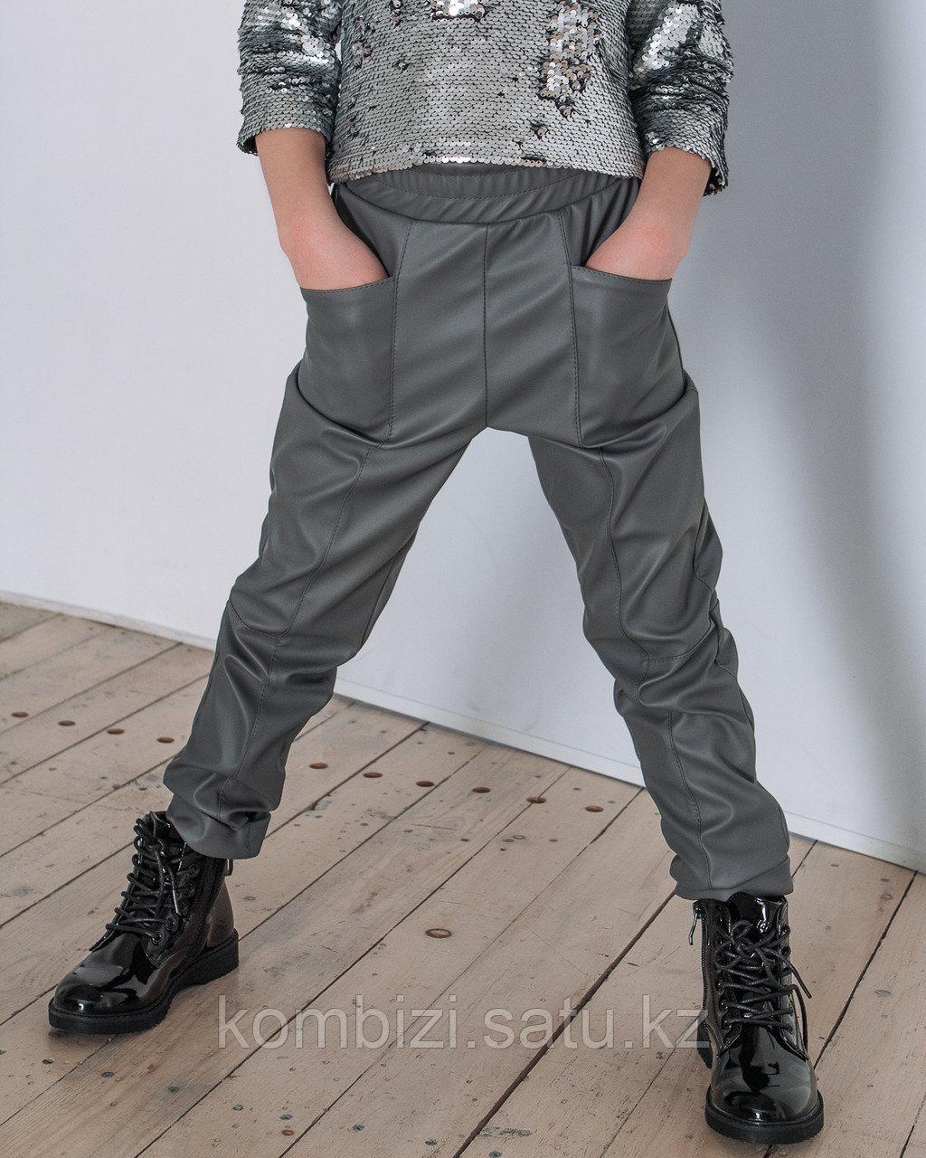 Штаны из экокожи FOR KIDS, серые - фото 1