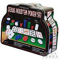 Набор для игры в покер в мет.банке (200 фишек 4 гр.,2 колоды карт,сукно), арт. 1897/BR5018
