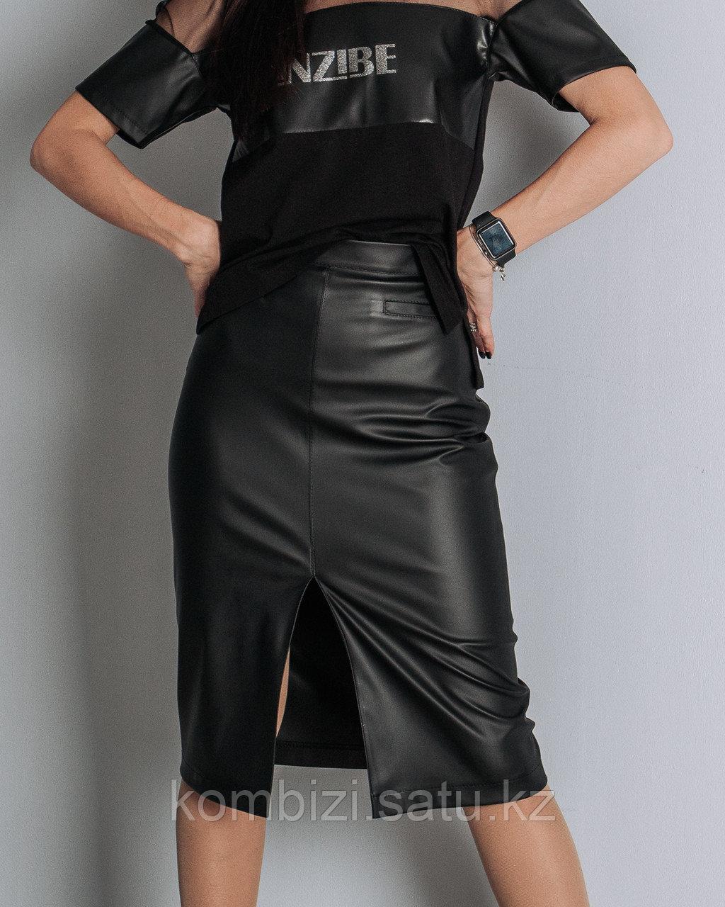 Юбка из экокожи Classic, черная - фото 1