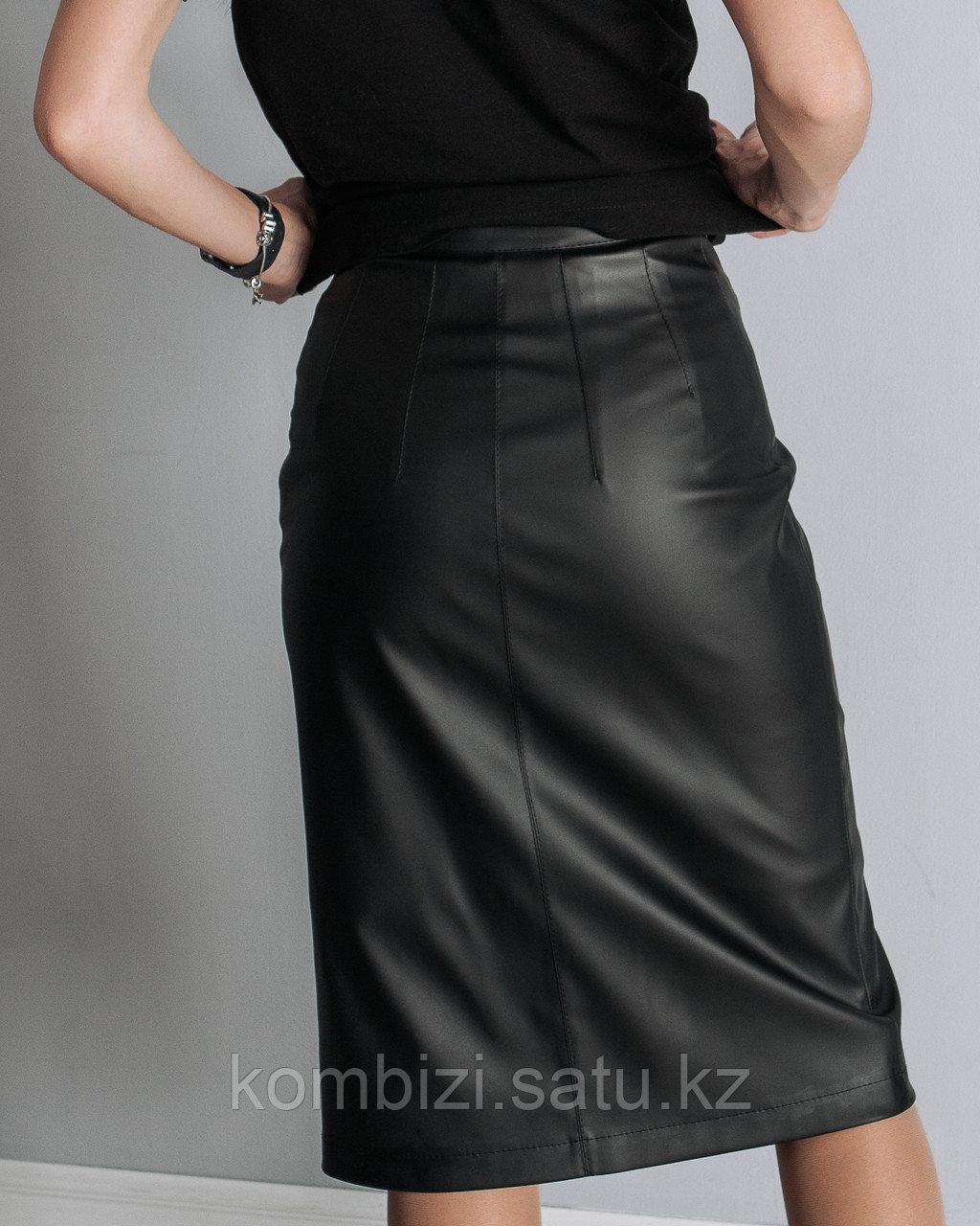 Юбка из экокожи Classic, черная - фото 2