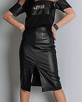 Юбка из экокожи Classic, черная