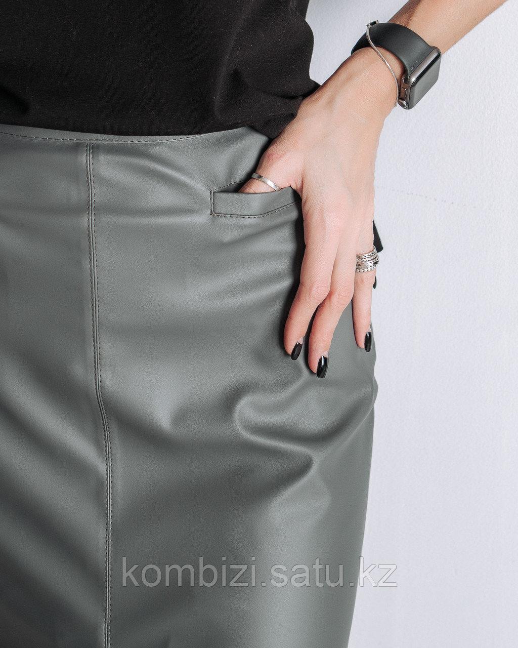 Юбка из экокожи Classic, серая - фото 2