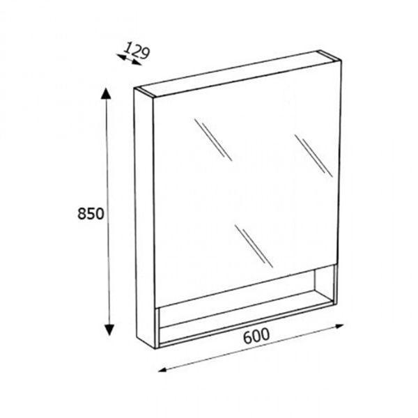 Зеркало-шкаф Gap 60 см, фиолетовое, ZRU9302751 - фото 2