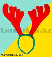 Ободок с рогами оленя детский праздничный новогодний