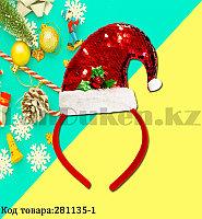 Ободок с колпаком Санта Клауса Деда мороза с пайетками детский праздничный новогодний красная
