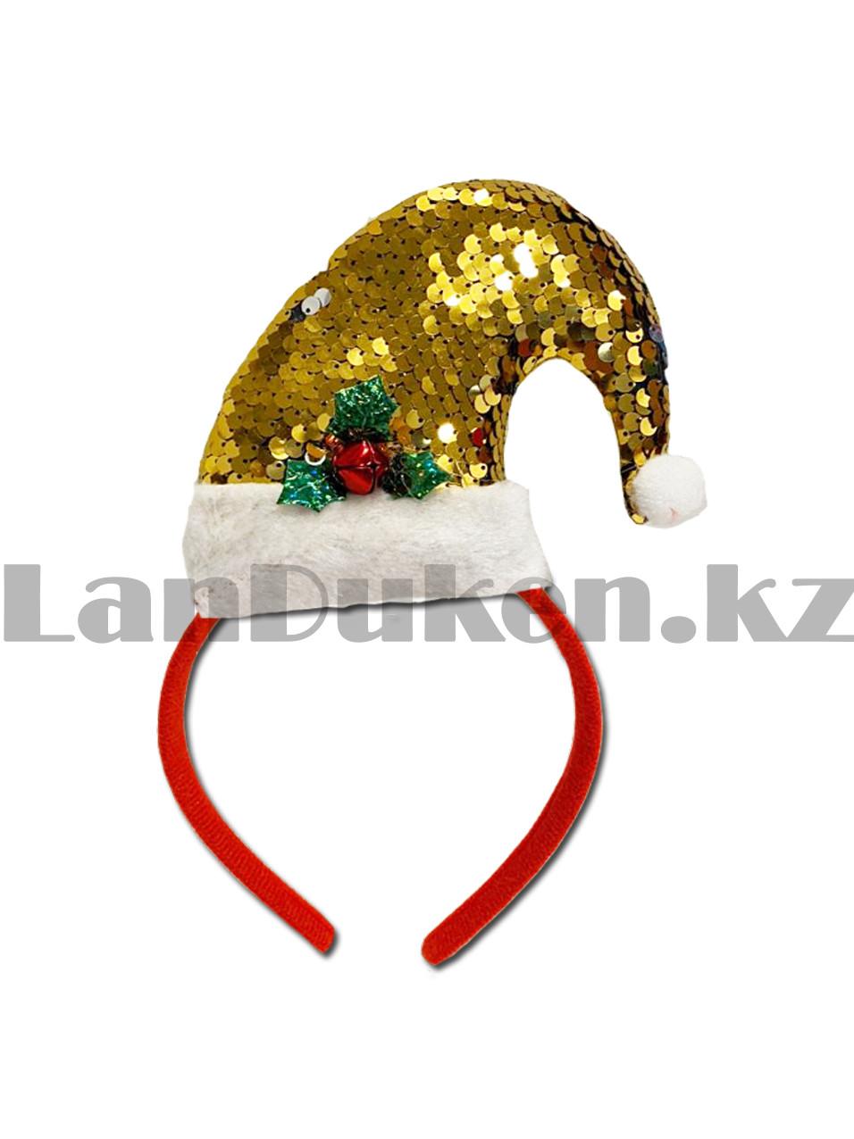 Ободок с колпаком Санта Клауса Деда мороза с пайетками детский праздничный новогодний желтая - фото 2