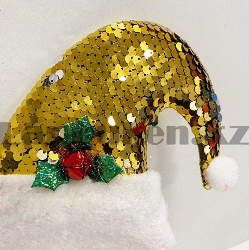 Ободок с колпаком Санта Клауса Деда мороза с пайетками детский праздничный новогодний желтая - фото 3
