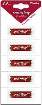 Батарейка алкалиновая Smartbuy LR6/5B strip (60/600)  (SBBA-2A05B)