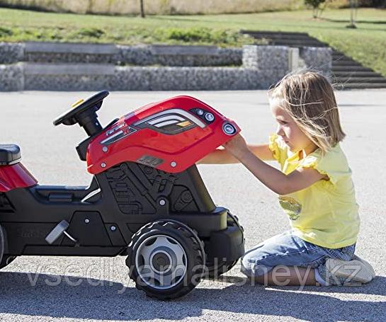 Трактор педальный Smoby XL с прицепом, красный - фото 5