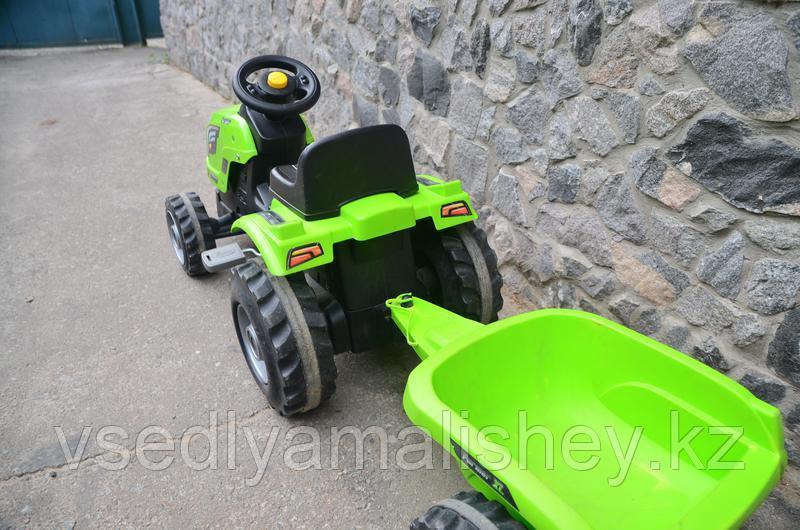 Трактор педальный Smoby XL с прицепом, зеленый - фото 3