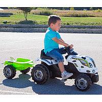 Трактор педальный Smoby XL с прицепом, Коровка