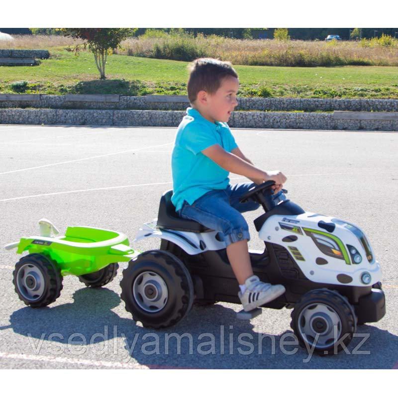 Трактор педальный Smoby XL с прицепом, Коровка - фото 1