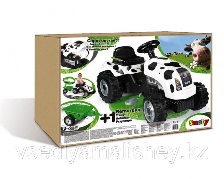 Трактор педальный Smoby XL с прицепом, Коровка - фото 5