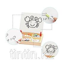 Деревянная доска 2 в 1: Магнитная игра-одевалка и маркерная доска, фото 2