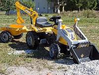 Трактор педальный Smoby с 2-мя ковшами и прицепом, желтый