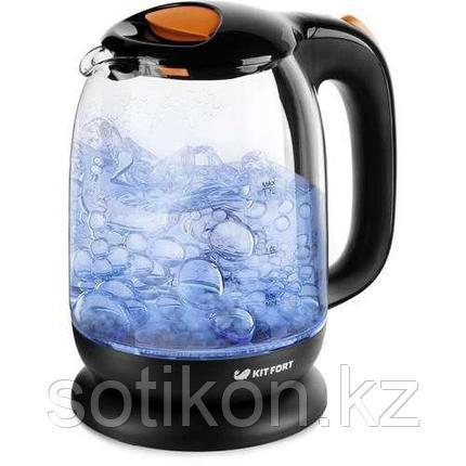 Электрический чайник Kitfort KT-625-3 черно-оранжевый, фото 2