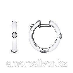 Серьги SOKOLOV серебро с родием, эмаль фианит  94021298