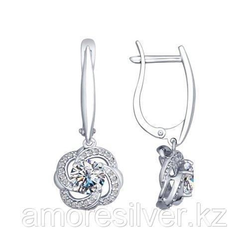Серьги SOKOLOV серебро с родием, фианит swarovski  фианит  89020047