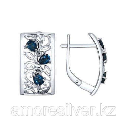Серьги SOKOLOV серебро с родием, топаз 92021530