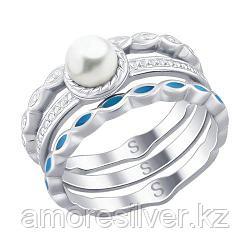Кольцо SOKOLOV серебро с родием, эмаль жемчуг синт. 94012525 размеры - 18 19 19,5