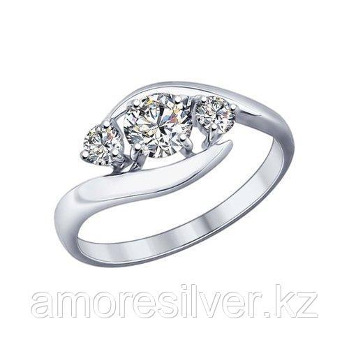 Кольцо SOKOLOV серебро с родием, фианит swarovski  89010040 размеры - 17 18,5