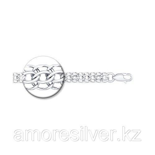 Браслет SOKOLOV серебро с родием, без вставок, питон 965150504 размеры - 16 18 20
