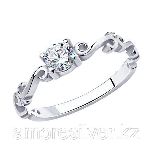 Кольцо SOKOLOV серебро с родием, фианит  94010907 размеры - 16 16,5 17 17,5 18 18,5