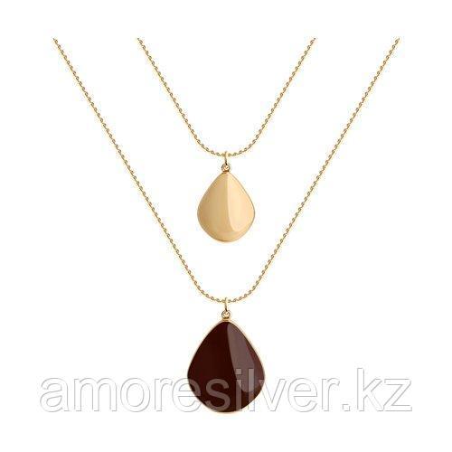 Колье SOKOLOV серебро с позолотой, эмаль, модное 93070045 размеры - 50
