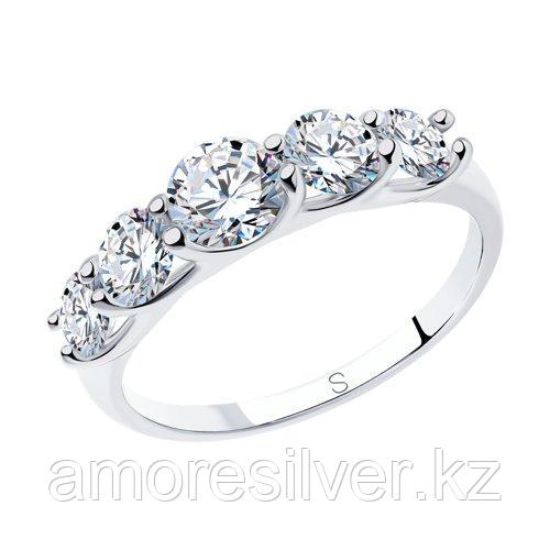 Кольцо SOKOLOV серебро с родием, фианит swarovski , дорожка 89010041 размеры - 16,5 17