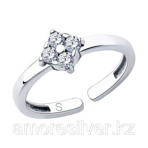 Кольцо SOKOLOV серебро с родием, фианит  94013063 размеры - 14 15