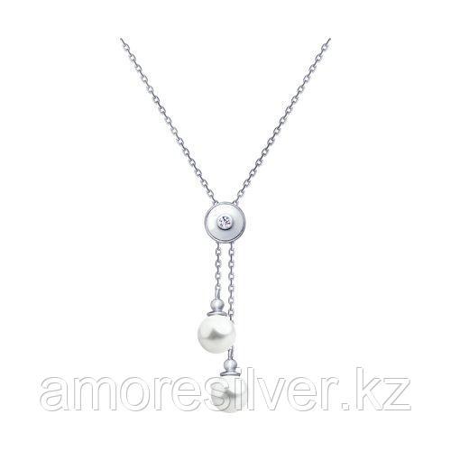 Колье SOKOLOV серебро с родием, жемчуг swarovski синт.  фианит  94070164