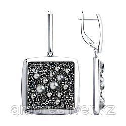 Серьги SOKOLOV серебро с родием, кристалл swarovski  94023808