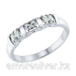Кольцо SOKOLOV серебро с родием, фианит swarovski  89010065 размеры - 18,5 19 19,5