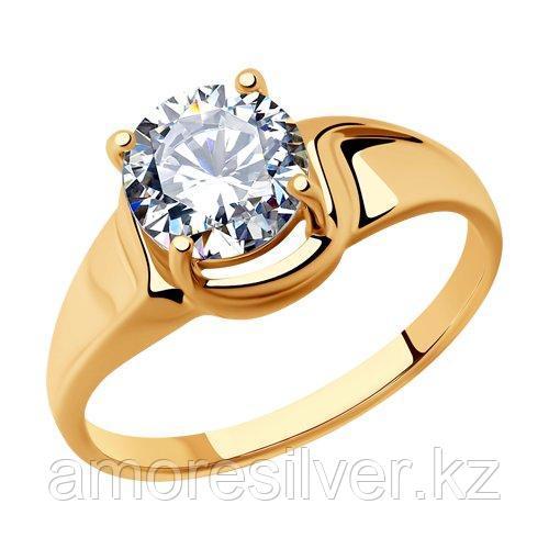 Кольцо SOKOLOV серебро с позолотой, фианит  93010809 размеры - 17