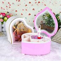 Музыкальная шкатулка механическая «Большое сердце» с танцующей балериной (Розовые розы)