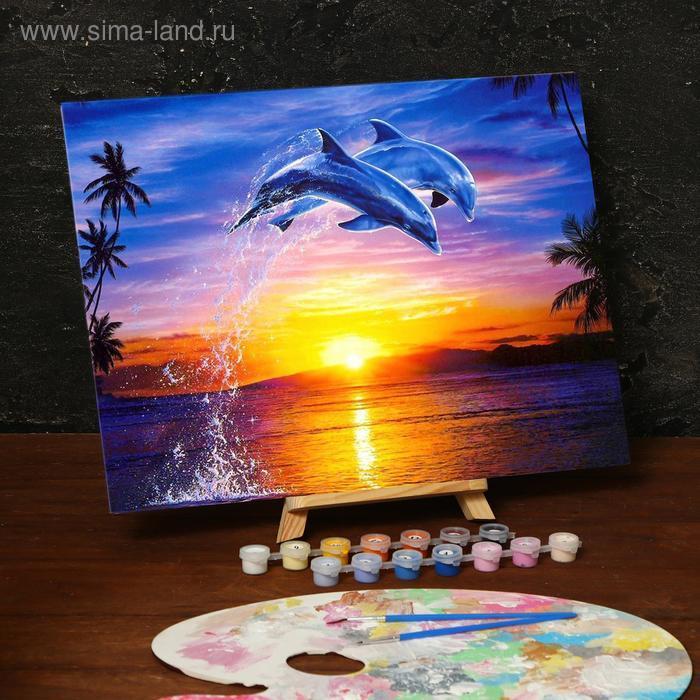 Картина по номерам без подрамника «Дельфины», 30 х 40 см - фото 1