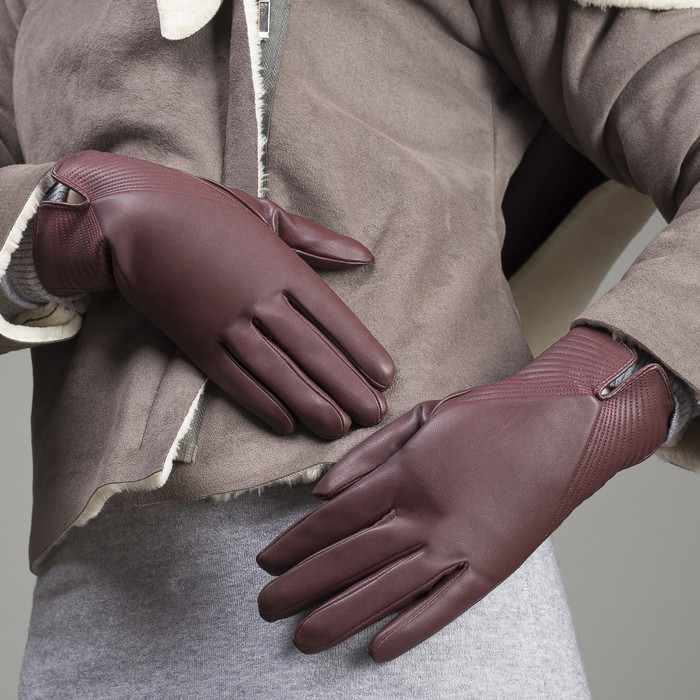 Перчатки женские, размер 7.5, с утеплителем, цвет бордовый
