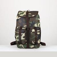 Рюкзак туристический, 55 л, отдел на шнурке, 3 наружных кармана, цвет хаки