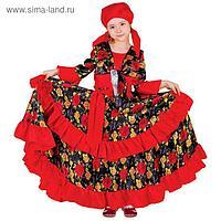 Карнавальный цыганский костюм для девочки, красный с двойной оборкой по юбке, р. 30, рост 116 см
