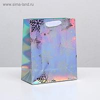 Пакет голографический вертикальный «Снежинки», 25 × 21 × 10 см
