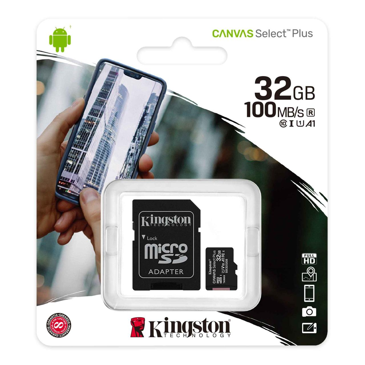 Карта памяти MicroSD, Kingston Canvas Select Plus, 32GB