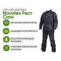 Костюм летний для охоты и рыбалки Novatex Рест Сити (рип-стоп, черный камуфляж), размер 44-46