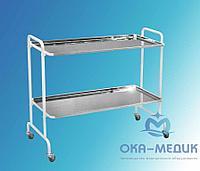 Столик мед .для хирургического инструмента СМх-6«Ока-Медик» (2 полки из нержавейки, колеса с серой шинкой из