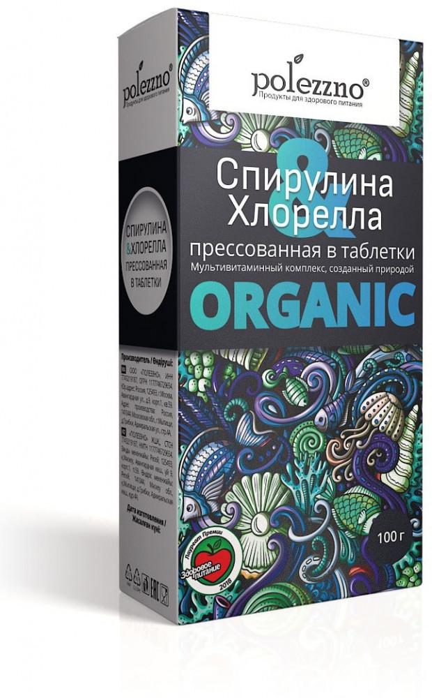 Спирулина и хлорелла, 100г табл