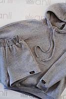Женское осеннее трикотажное серое спортивное худи Anli 062 серый 50р.