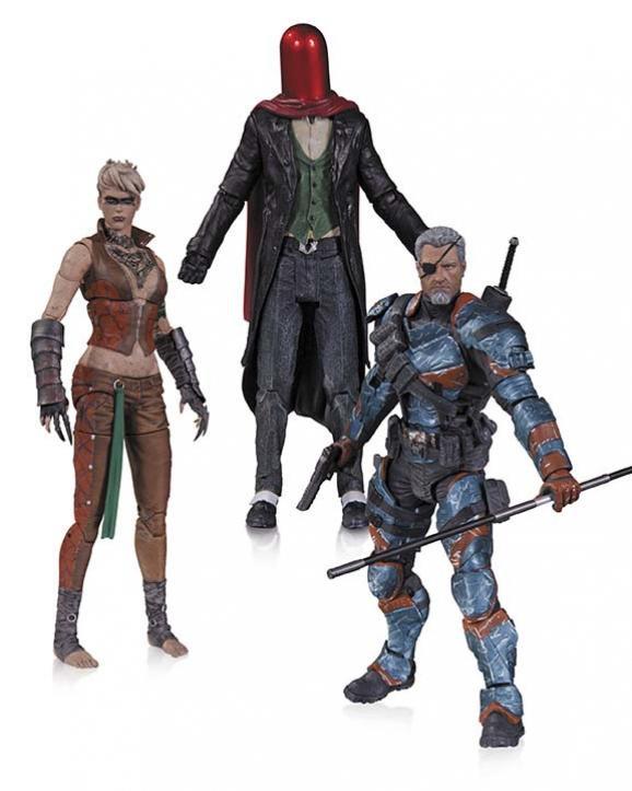 """DC Collectibles """"Batman Arkham Origins"""" Набор фигурок Красный колпак (Джокер), Копперхэд, Дезстроук"""